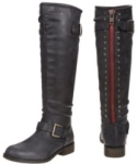 Madden Girl Cactuss Black Boots with Red Zipper