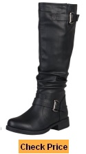 Journee Collection Womens Wide-Calf Buckle Knee-High Riding Boot