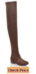 Essex Glam Womens Thigh High Stretch Faux Suede Over The Knee Boots
