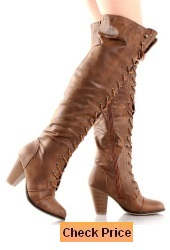 Forever Camila-48 Lace Up Over The Knee High Riding Boots