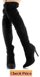 Breckelles BG03 Women Faux Suede Pointy Toe Stiletto Heel Thigh High Boot