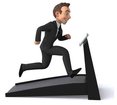 BusinessMan Exercising on Treadmill