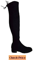 Kaitlyn Pan Women's Microsuede Flat Heel Over the Knee Thigh High Boots