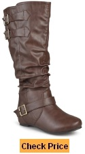Journee Collection Womens Regular Sized and Wide-Calf Buckle Slouch Low-Wedge Boot