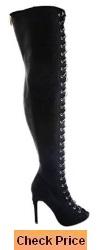 CR Olga Thigh High Open Toe Stiletto Heel Lace Up Full Zipper Boots Nubuck