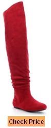 DA VICCINO TOP-01-HI Women's Slouch Size Zipper Flat Tigh High Boots