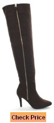 Forever Alexia-1 Women's Sassy Side Zipper Thigh High Riding Boots Brown