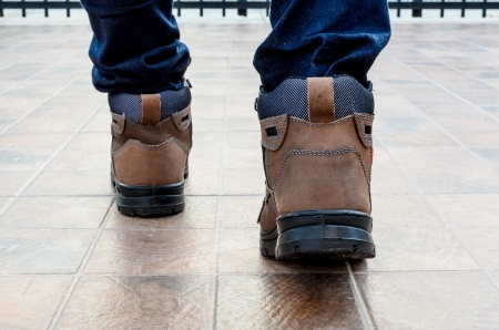 Man Wearing Comfortable Work Boots