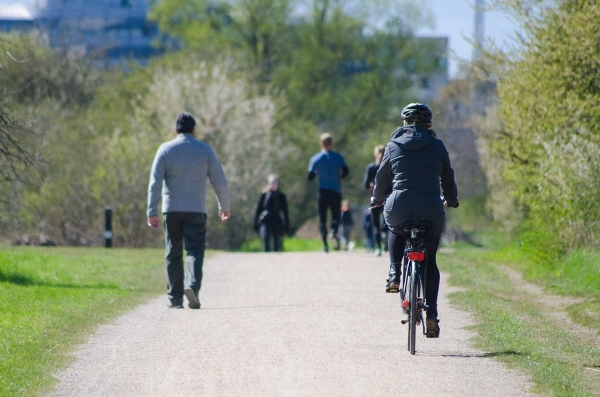 People Walking Jogging and Cycling