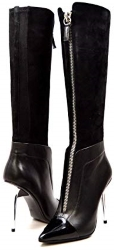 SoleMani Slim Collection French Leather Suede Dress Boots