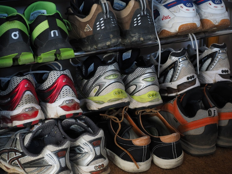 Running Shoes on a Rack